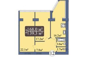ЖК Мрія Миколаїв: планування 2-кімнатної квартири 68 м²