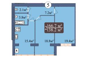 ЖК Мрія Золочів: планування 2-кімнатної квартири 66.7 м²