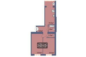 ЖК Мрія Золочів: планування 2-кімнатної квартири 70.1 м²