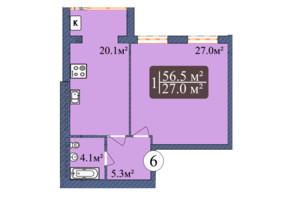 ЖК Мрія Золочів: вільне планування квартири 56.5 м²