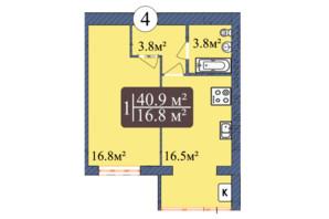 ЖК Мрія Золочів: планування 1-кімнатної квартири 40.9 м²