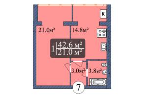 ЖК Мрія Золочів: планування 1-кімнатної квартири 42.6 м²