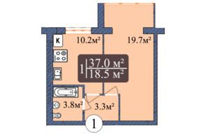 ЖК Мрія Золочів: планування 1-кімнатної квартири 37 м²