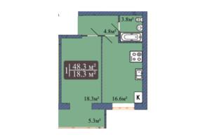 ЖК Мрия на Покровской: планировка 1-комнатной квартиры 48.3 м²