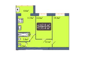 ЖК Мрия на Покровской: планировка 2-комнатной квартиры 62.8 м²