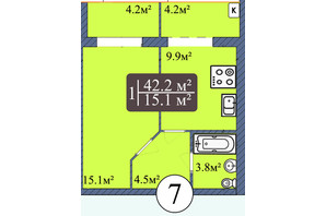 ЖК Мрия на Покровской: планировка 1-комнатной квартиры 42.2 м²