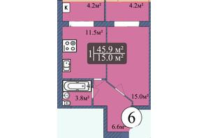 ЖК Мрия на Покровской: планировка 1-комнатной квартиры 45.9 м²