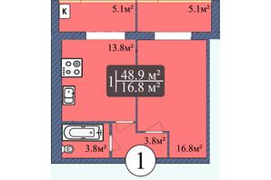 ЖК Мрия на Покровской: планировка 1-комнатной квартиры 48.9 м²
