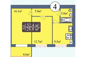 ЖК Мрия на Покровской: планировка 2-комнатной квартиры 52.4 м²