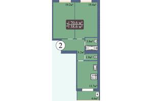 ЖК Мрия на Покровской: планировка 2-комнатной квартиры 70.6 м²