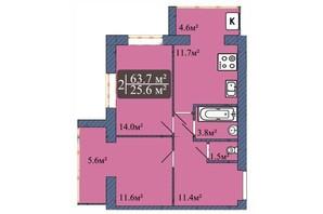 ЖК Мрия на Покровской: планировка 2-комнатной квартиры 63.7 м²