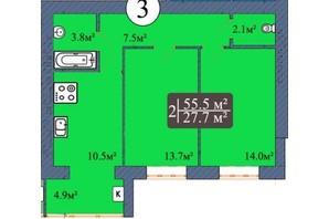 ЖК Мрия на Покровской: планировка 2-комнатной квартиры 55.5 м²