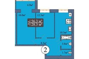 ЖК Мрия на Покровской: планировка 2-комнатной квартиры 56.3 м²