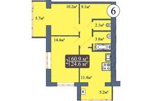 ЖК Мрия на Покровской: планировка 2-комнатной квартиры 60.9 м²
