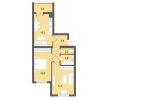 ЖК Muller Haus: планування 2-кімнатної квартири 63.2 м²