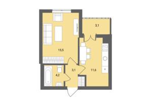 ЖК Muller Haus: планування 1-кімнатної квартири 37.5 м²