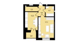 ЖК Muller Haus: планування 1-кімнатної квартири 44 м²