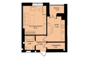 ЖК Muller Haus: планування 1-кімнатної квартири 42.5 м²