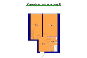 ЖК Милі квартири: планування 1-кімнатної квартири 48 м²