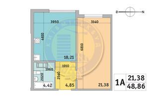 ЖК Милос: планировка 1-комнатной квартиры 48.86 м²