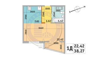 ЖК Милос: планировка 1-комнатной квартиры 38.27 м²
