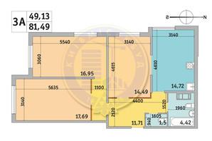 ЖК Милос: планировка 3-комнатной квартиры 81.49 м²