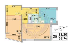 ЖК Милос: планировка 2-комнатной квартиры 58.74 м²