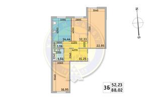 ЖК Милос: планировка 3-комнатной квартиры 88.02 м²