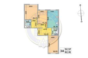 ЖК Милос: планировка 3-комнатной квартиры 92.91 м²
