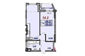 ЖК Милос: планировка 1-комнатной квартиры 50.68 м²