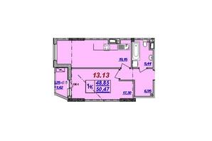 ЖК Милос: планировка 1-комнатной квартиры 50.47 м²