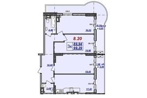 ЖК Милос: планировка 3-комнатной квартиры 99.29 м²