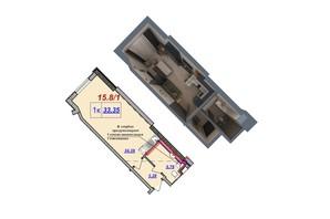 ЖК Милос: планировка 1-комнатной квартиры 33.35 м²