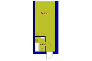 ЖК Милые квартиры: планировка 1-комнатной квартиры 30 м²