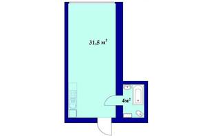 ЖК Милые квартиры: планировка 1-комнатной квартиры 35 м²