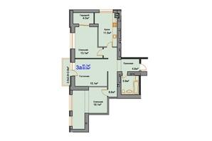 ЖК Мирный: планировка 3-комнатной квартиры 83.9 м²