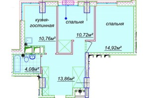 ЖК Миронова: свободная планировка квартиры 58.52 м²