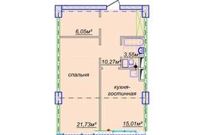 ЖК Миронова: свободная планировка квартиры 59.2 м²
