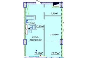 ЖК Миронова: свободная планировка квартиры 59.34 м²