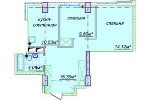 ЖК Миронова: свободная планировка квартиры 57.65 м²