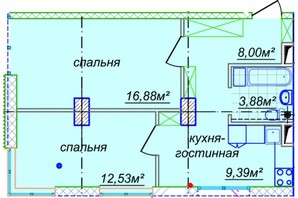 ЖК Миронова: свободная планировка квартиры 50.29 м²