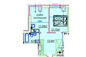 ЖК Миронова: свободная планировка квартиры 41.37 м²
