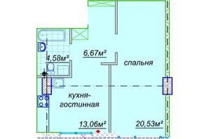 ЖК Миронова: свободная планировка квартиры 45.51 м²