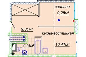 ЖК Миронова: свободная планировка квартиры 35.73 м²