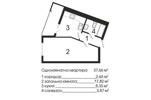 ЖК НАЦІОНАЛЬНИЙ: планировка 1-комнатной квартиры 37.66 м²