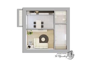 ЖК На Щасливому, будинок 27: планування 1-кімнатної квартири 45 м²