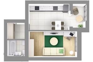 ЖК На Щасливому, будинок 28: планування 1-кімнатної квартири 43.9 м²