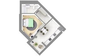 ЖК На Щасливому, будинок 28: планування 1-кімнатної квартири 45.2 м²