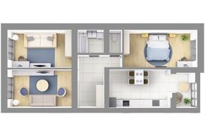 ЖК На Щасливому, будинок 28: планування 3-кімнатної квартири 83.8 м²