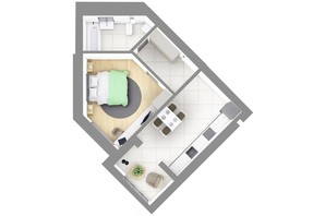 ЖК На Щасливому, дом 28: планировка 1-комнатной квартиры 45.2 м²